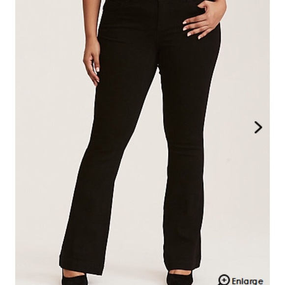 60c6a14f578bc Torrid 3 button flare jeans in Black wash